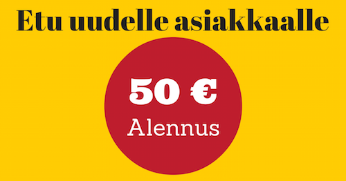 50€ etu uudelle asiakkaalle