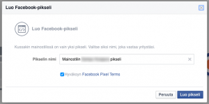 Facebook-pikseli anna nimi