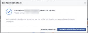 Facebook-pikseli valmis