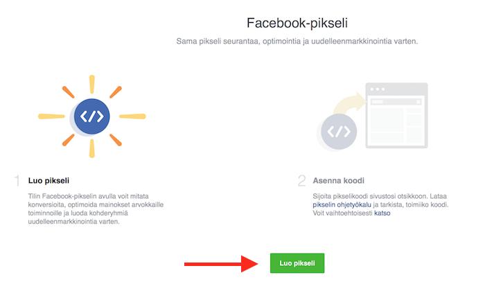Facebook-pikselin luominen