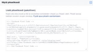 Facebook-pikseli näytä pikselikoodi