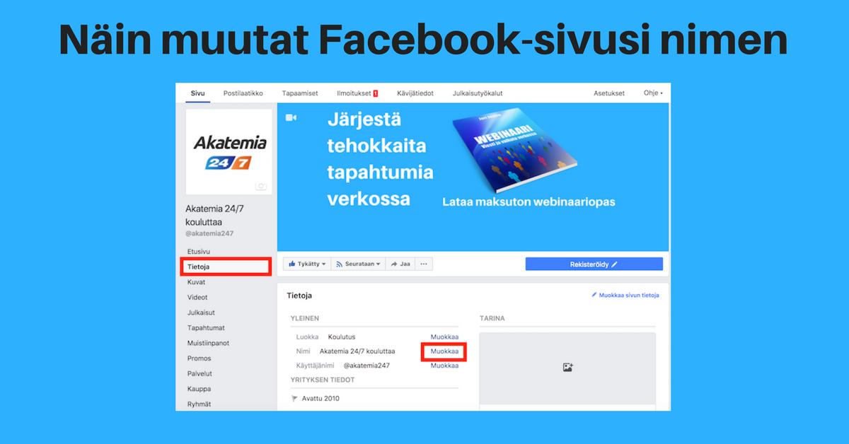 Facebook-sivun nimen muuttaminen – onnistuuko ja miten?