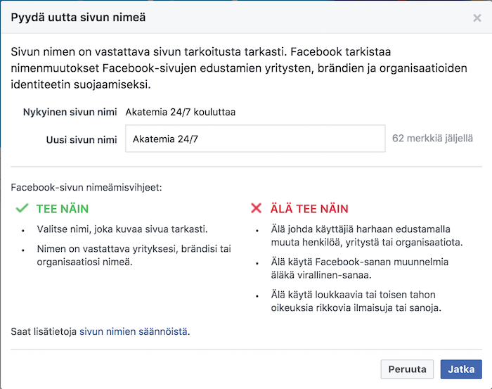 Valitse uusi nimi Facebook-sivulle