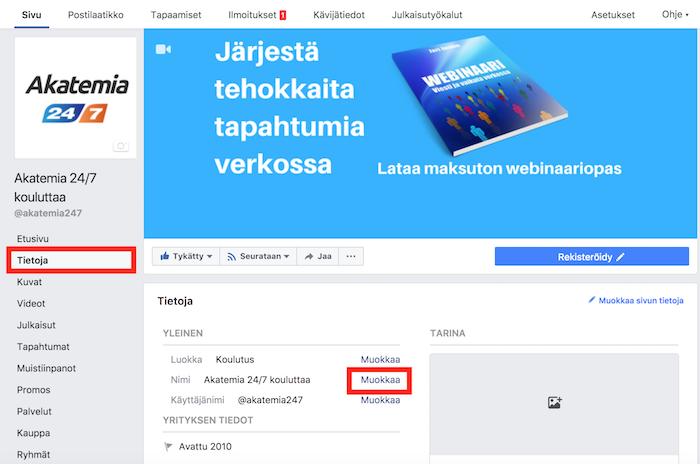 Aloita Facebook-sivun nimen muuttaminen