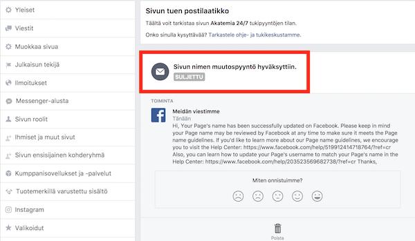 Facebook-sivun nimen muutospyyntö hyväksytty