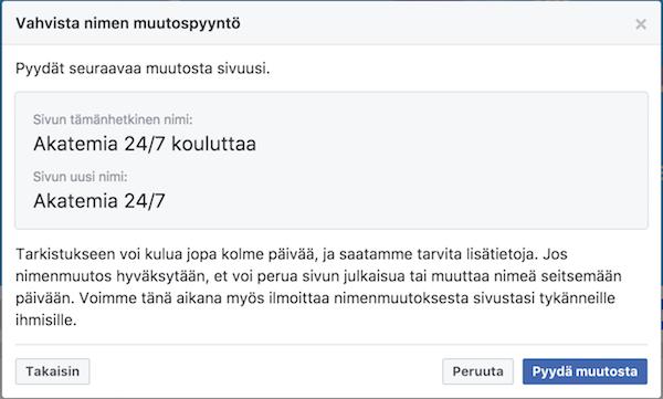 Vahvista Facebook-sivun nimen muuttaminen