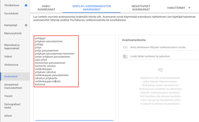 AdWords Display-verkoston avainsanat