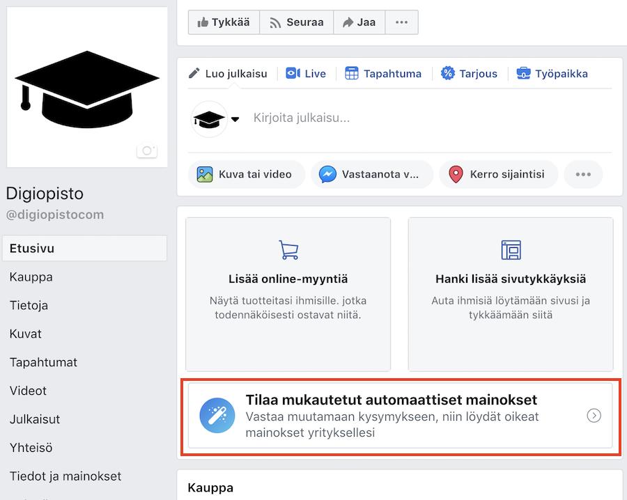 Mukautetut automaattiset facebook-mainokset