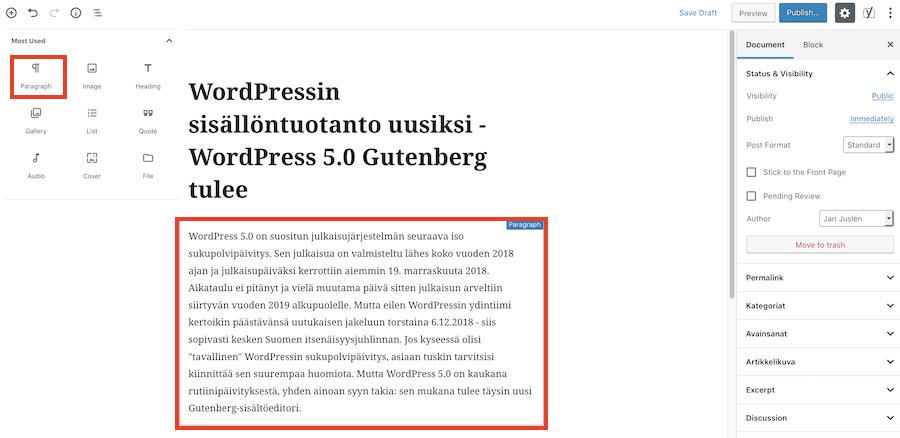 gutenberg-editori lisää tekstikappale