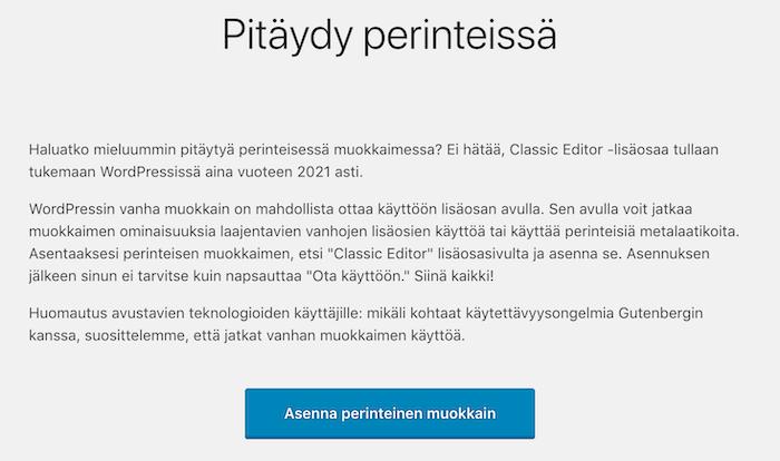 WordPress 5.0 asenna perinteinen editori