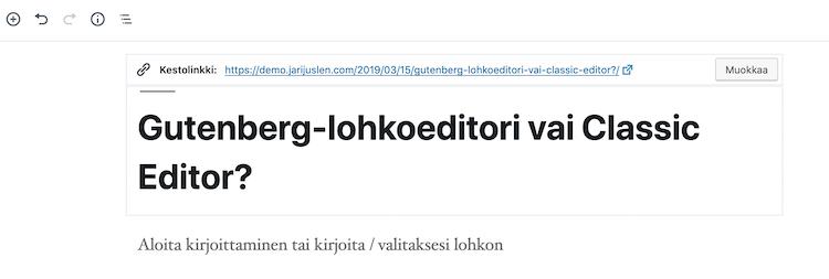Gutenberg-editori otsikko ja url-osoite