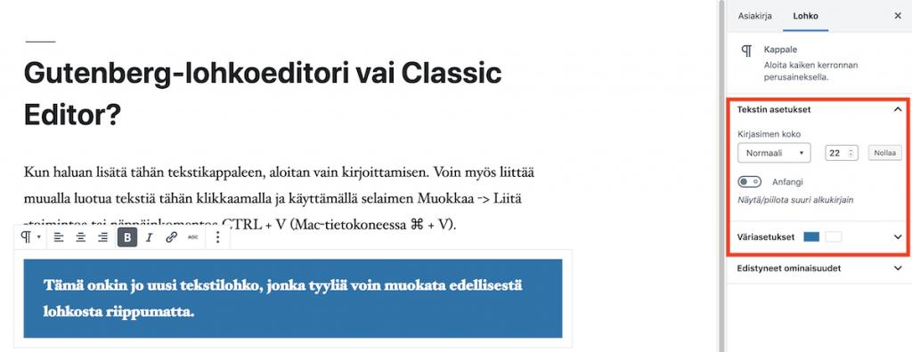 Gutenberg-editori uusi tekstilohko