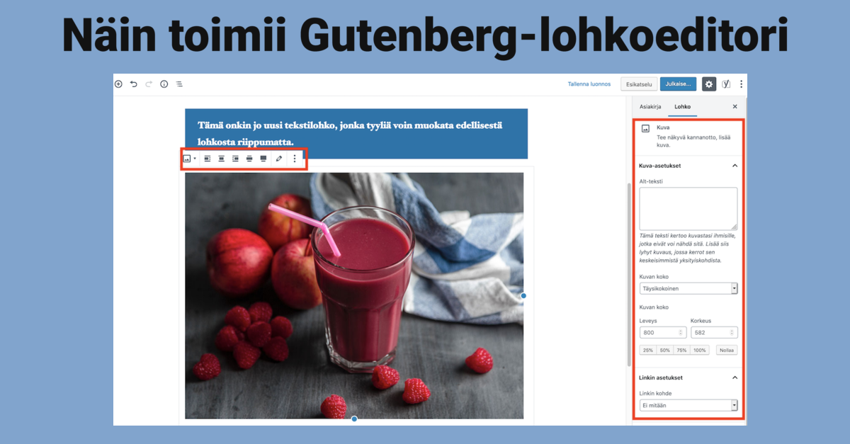 Näin toimii uusi WordPress Gutenberg-lohkoeditori