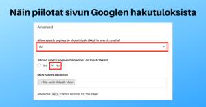Robots meta piilota sivu Googlen hakutuloksista