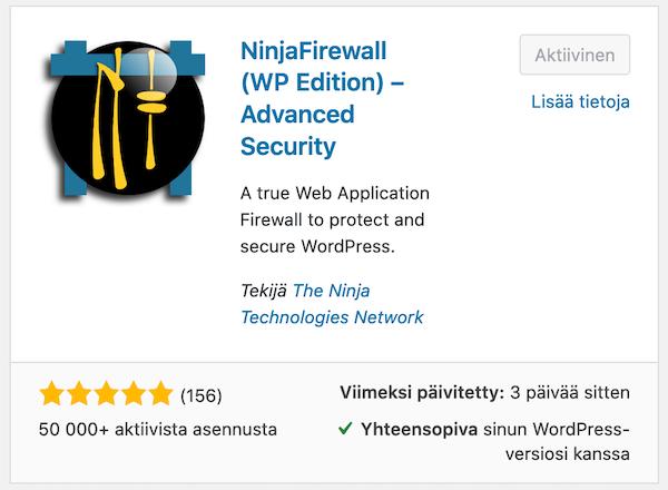 Ninja Firewall -palomuuriohjelmisto on WordPress-lisäosa
