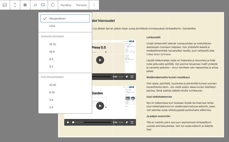 WordPress 5.5 kuvien muokkaus suoraan lohkoeditorissa