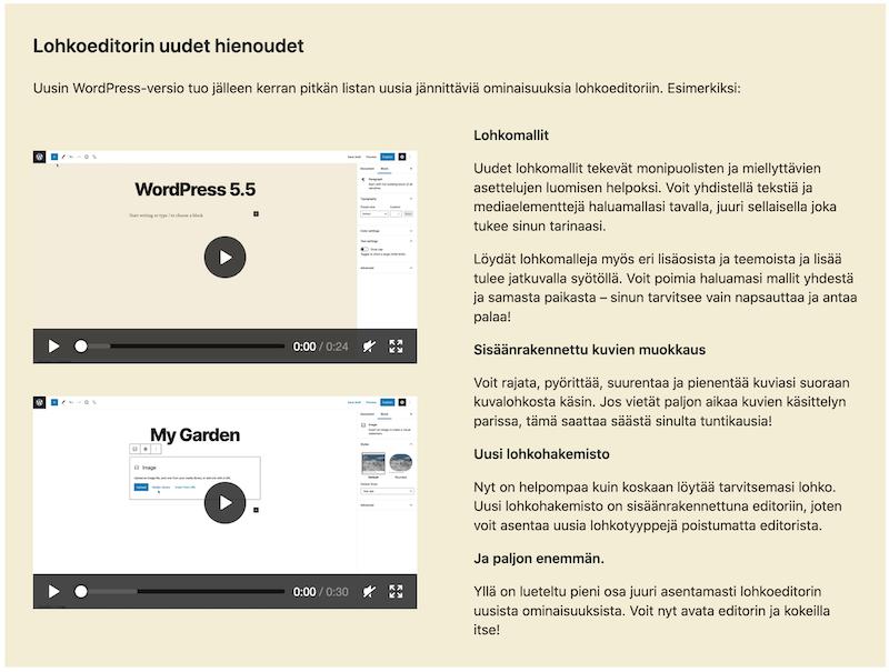 WordPress 5.5 lohkoeditorin parannukset