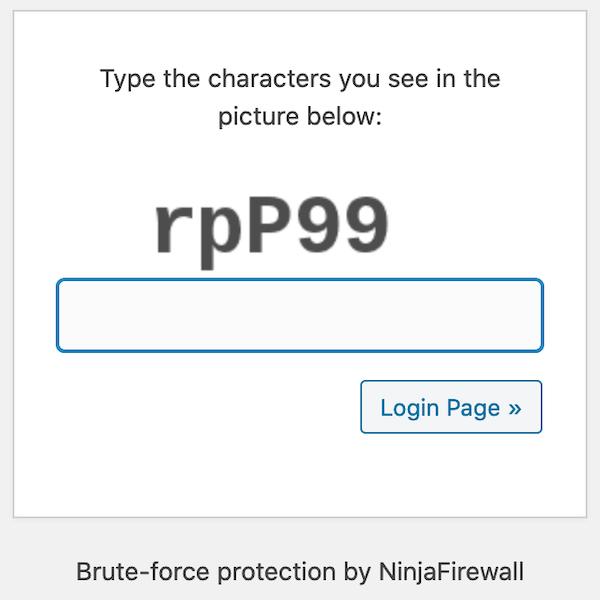WordPressin kirjautumissivu, kun Ninja Firewallin brute force -esto on aktiivinen