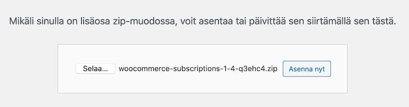 WordPress lataa lisäosa