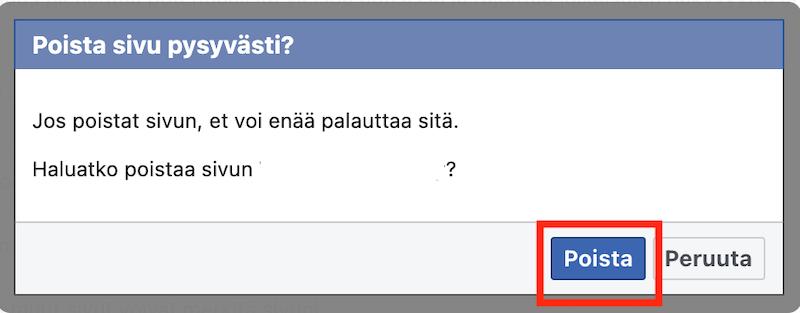 Vahvista Facebook-sivun poistaminen