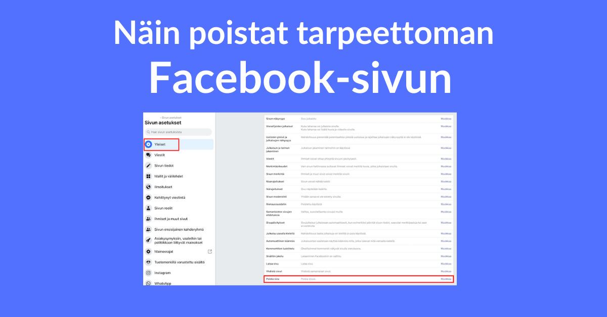 facebook sivun poistaminen