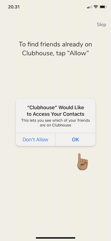 clubhouse pyytää pääsyä osoitekirjaasi