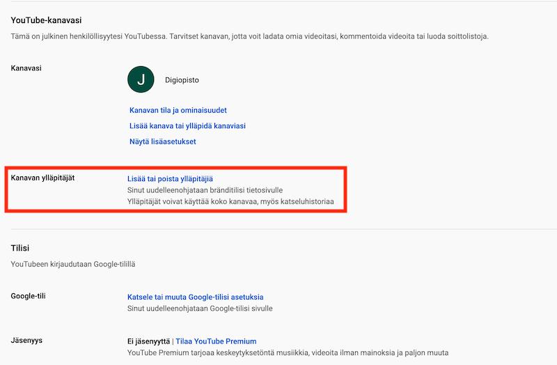 YouTube yrityskanavan Tili-sivu