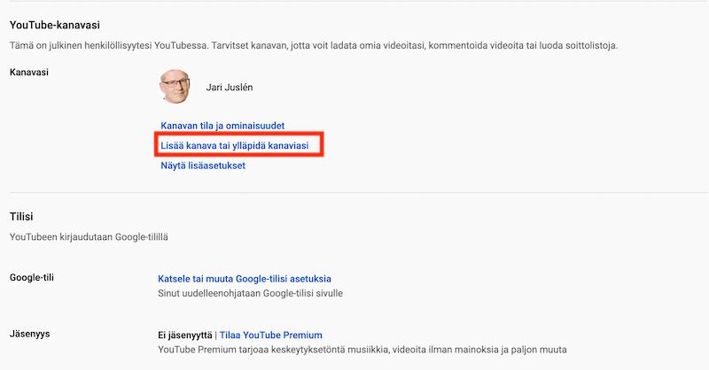 YouTube - lisää kanava